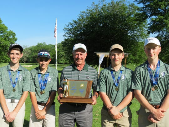 Midland Park won the Group 1 title at the NJSIAA Boys Golf Championship at Hopewell Valley Golf Club in Hopewell on Monday, May 21. From left: Matt Diani, Mikey Folignani, coach Dick Bennett, Sean Furlong, and Joe Furlong.
