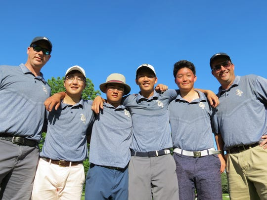 Northern Valley at Old Tappan three-peated as Group 3 champ at the NJSIAA Boys Golf Championship at Hopewell Valley Golf Club in Hopewell on Monday, May 21: From left: Assistant Craig Ferraro, Chan Park, Ryan Lee, Sam Yom, Jongjun Baek, and coach Tom Quinn.