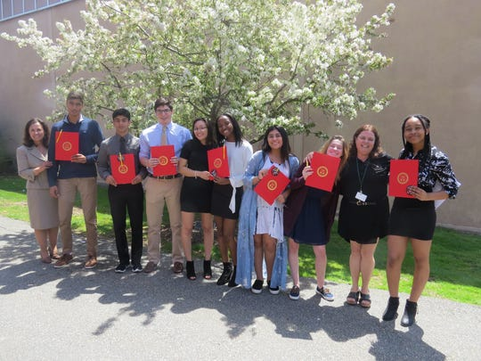 Spanish honor society inductees – With teachers Sra. Yolanda Reyes (left) and Sra. Elisa Segal (second from right), students from left: Ayush Menon of Scotch Plains, Sahil Mulji of Edison, Logan D'Amore of Scotch Plains, Jaden Dugenio of Branchburg, Sydney Johnson of Piscataway, Neha Sharma of Edison Camila Fang of Edison and Brianna Chambers of Somerset.
