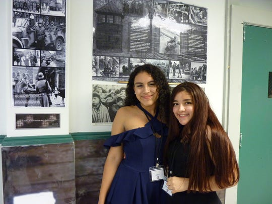 North Plainfield Middle School students Emilly Diaz, left, and Samnatha Borja, both of which assisted in organizing the Holocaust exhibit.