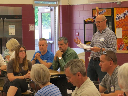 "Residents of Morris Plains discuss the strengths, weaknesses and hopes for the borough during a planning board ""vision session"" Saturday at Borough School. June 9, 2018."