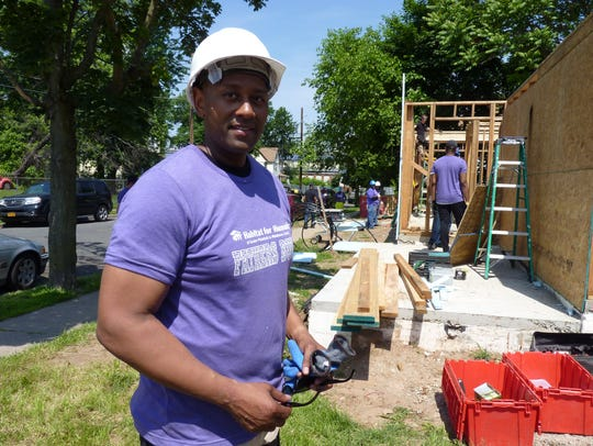 Donnell Wright, of Westfield, helped build a home in