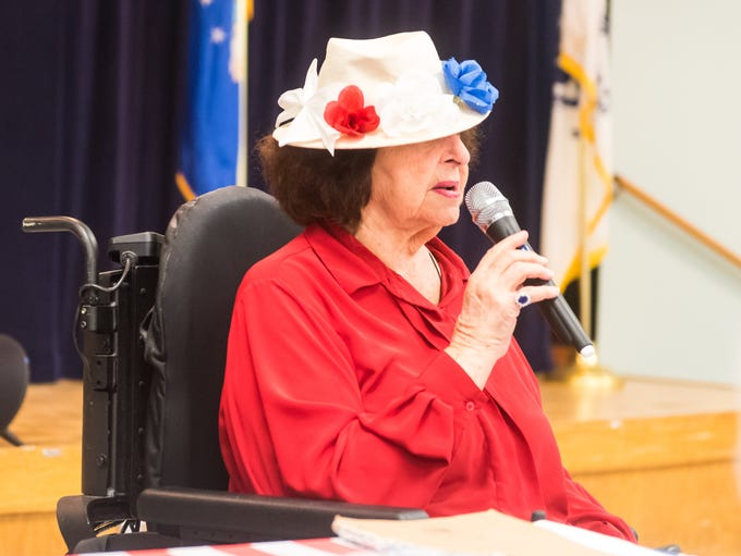 Dottie Cullen introduces herself during the Flag Day