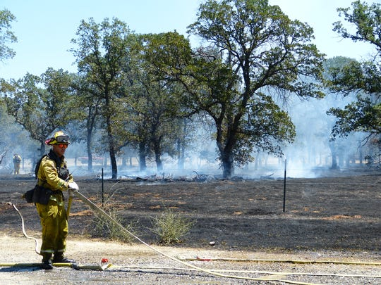Firefighters tended to the fire off Goodwater Avenue