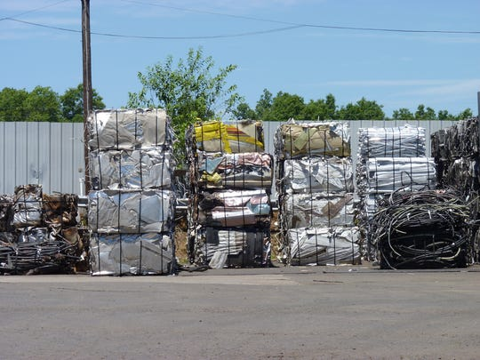 Scrap metal lined up at Kline Recycling in Hillsborough.