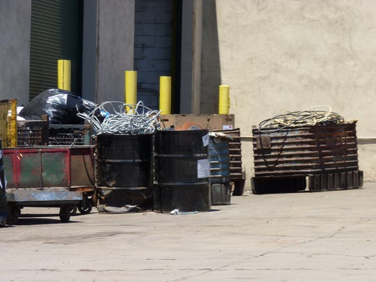 Barrels full of metal at Klein Recycling in Hillsborough.
