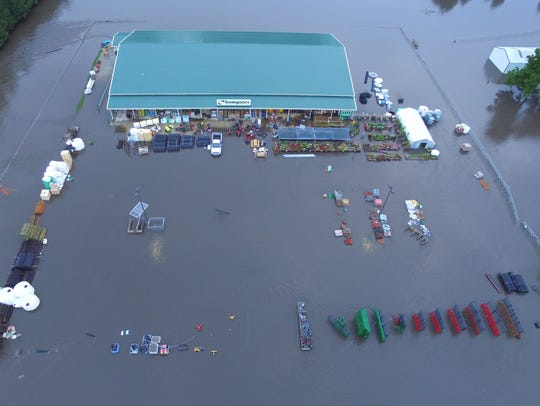 Drone footage shows flooding in Rock Valley on Friday