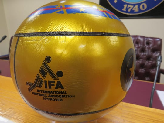 A ceremonial fistball in the Roxbury Council Chambers,