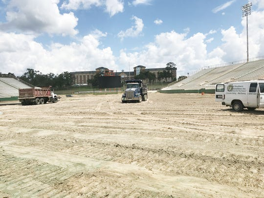 The dirt covering the area will soon be replaced with a state-of-the-art field turf.