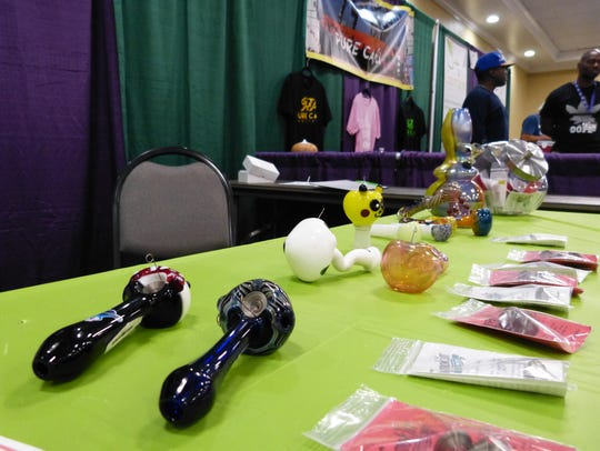 Smoking pipes by Smokin' Screws were showcased at the THC Fair in Redding earlier this year.