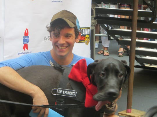 Michael Urie and Michael the adoptable Great Dane at the 20th annual Broadway Barks, July 14, 2018, at Shubert Alley in Manhattan.