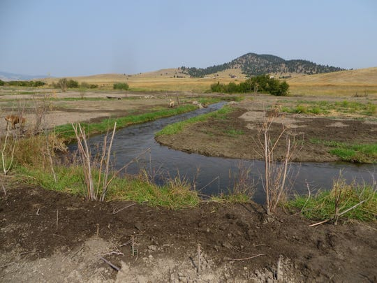 "An after picture following construction of a new channel on Sevenmile Creek in the Helena Valley. The existing channel was a gully with 10-foot vertical eroding banks caused by channel straightening 50 years ago. NorthWestern Energy teamed with Prickly Pear Land Trust and Montana Fish, Wildlife and Parks on the stream improvement. NorthWestern's stream and habitat work flies under the radar ""but when you add it all up it's good for fisheries resources,"" said NorthWestern's Steve Leathe."