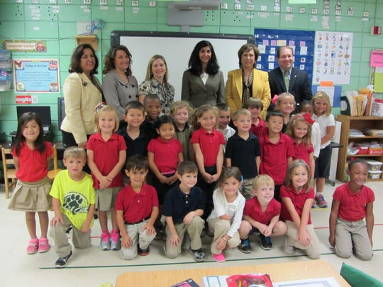 Louisiana First Lady Supriya Jindal delivers new tools to kindergarten classes at Woodvale Elementary in Lafayette on Monday.