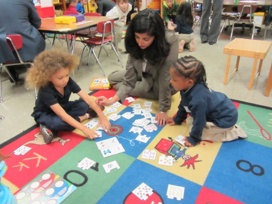 Louisiana First Lady Supriya Jindal delivers new tools to kindergarten classes at Green T. Lindon Elementary in Youngsville on Monday.