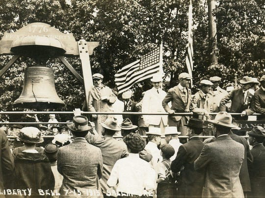 The Liberty Bell Is seen in downtown Salem on July 15, 1915.