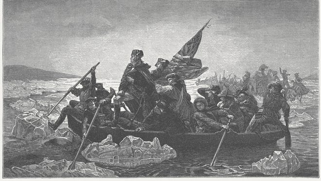 Washington's crossing of the Delaware River, which occurred on the night of December 25–26, 1776, during the American Revolutionary War. Wood engraving after a painting (1851) by Emanuel Gottlieb Leutze (German American history painter, 1816 - 1868), published in 1882.