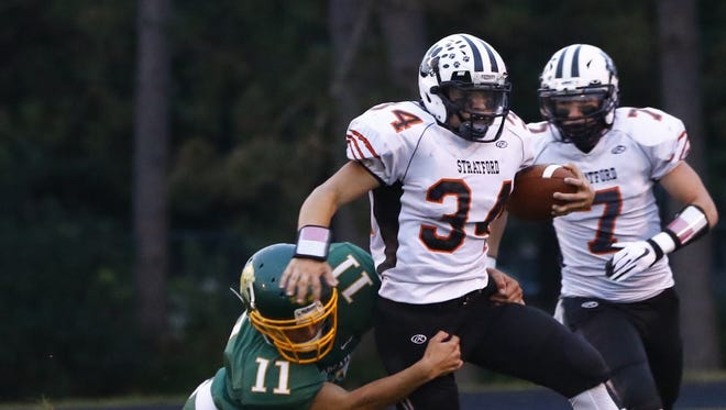 Stratford's Kade Ehrike rushed for more than 200 yards and four touchdowns in a nonconference win over Marengo, Illinois last Friday.