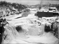 A winter deep-freeze from yesteryear: This circa 1912 photo shows a view from the Driving Park Avenue bridge toward the third or Lower Falls of the Genesee River. Above the falls to the right are the few remaining buildings of the industrial site called McCrackenville established in 1817.