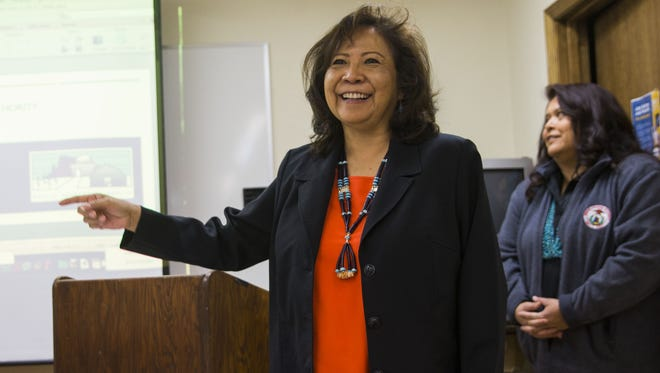 "Aneva ""A.J."" Yazzie, who stepped down as CEO of the Navajo Housing Authority, speaks to reporters in Gallup, N.M., in February 2017."