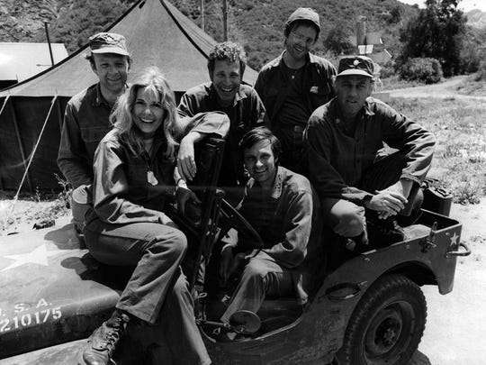 "Larry Linville, left, portrayed Frank Burns in the CBS adaptation of ""MASH."""