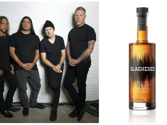 This combination photo shows, members of the heavy metal band Metallica, from left, Kirk Hammett, Robert Trujillo, Lars Ulrich and James Hetfield and their whiskey brand, Blackened American Whiskey.
