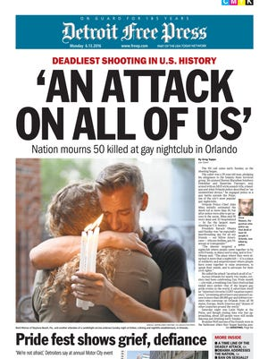 Detroit Free Press designer Alicia Secord won first-place recognition for Full-Page Design for this cover following the deadly 2016 Orlando nightclub shooting, in the annual Michigan Associated Press Media Editors contest.