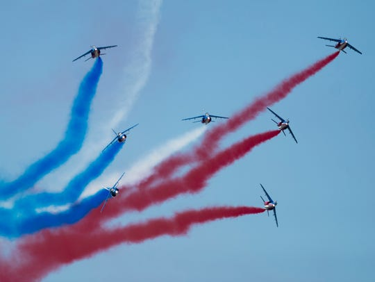 The Patrouille de France performs during the Maxwell