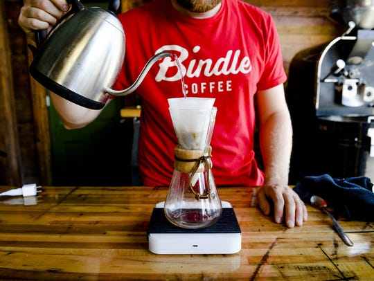 Andrew Webb demonstrates a Chemex pour-over coffee