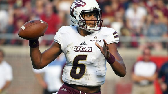 Dec 2, 2017; Tallahassee, FL, USA; Louisiana Monroe Warhawks quarterback Caleb Evans (6) looks to throw the ball during the second half of the game against the Florida State Seminoles at Doak Campbell Stadium. Mandatory Credit: Melina Vastola-USA TODAY Sports