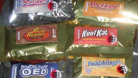 These are examples of bogus candy, infused with marijuana, with names like Rastateers, Keef Kat and Rasta Reese's.
