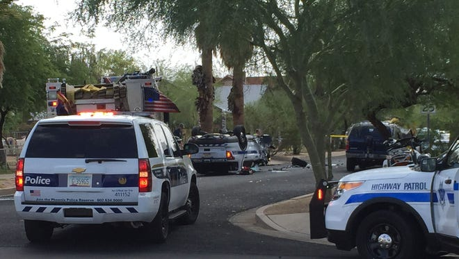 A DPS officer was involved in a wreck near the State Capitol on May 8, 2015.
