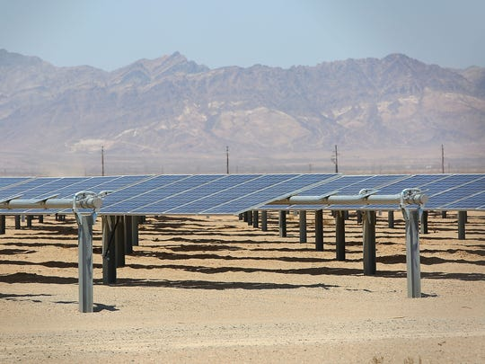NextEra's 250-megawatt McCoy solar project, just west of Blythe, California, generates electricity on June 22, 2016.