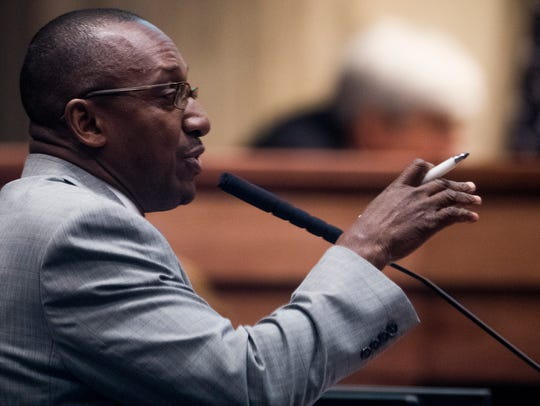 Sen. Bobby Singleton in the senate chamber at the Alabama