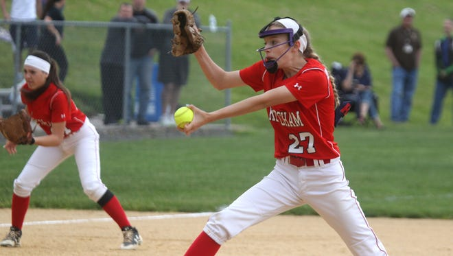 R. C. Ketcham's Sky Brandemarte delivers a pitch during a Section 1 Class AA softball tournament first round game at Clarkstown South May 20, 2017. Clarkstown South won 5-4.