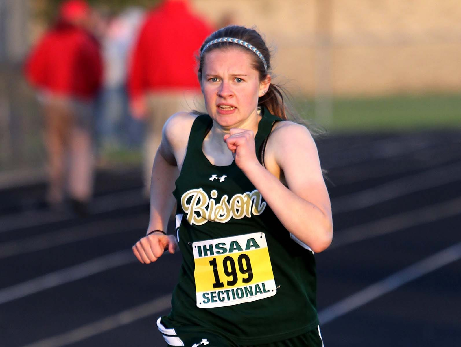 Isabel Weise of Benton Central won the 800 meters at the Benton Central Sectional on Tuesday night.