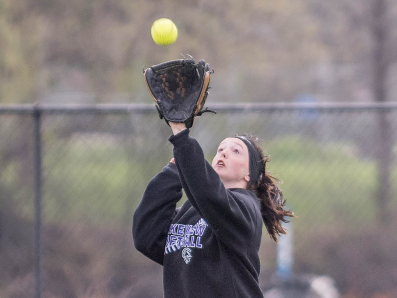 Lakeview's Emily Whitney catches a pop fly during the Gull Lake Invitational on Saturday.