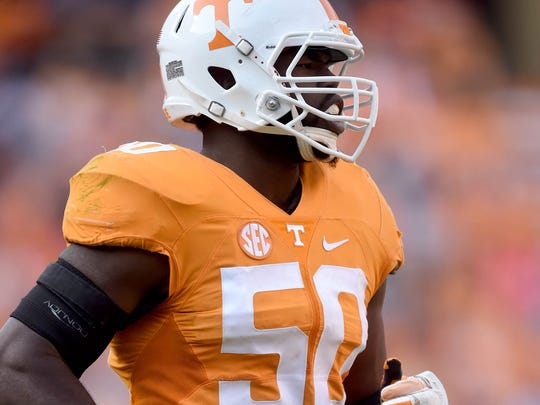 Tennessee (50) defensive lineman Corey Vereen (50) during the second half at Neyland Stadium on Saturday, Nov. 12, 2016. Tennessee won the game 49-36.