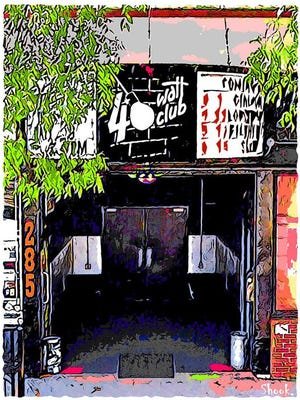 Giclée printed art of the 40 Watt Club in Athens, Ga. by Washington, DC-based artist Steve Shook. Twenty percent of sales will be donated to the 40 Watt Club Employee Relief Fund on a weekly basis.