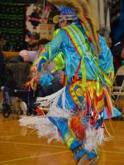 Odjig Johnson of Walpole Island First Nation dances during the American Indian Festival at Algonac High School on Saturday, April, 28, 2018.