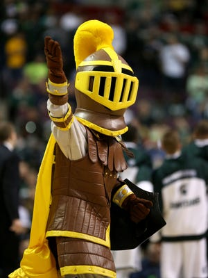 The mascot for the Valparaiso Crusaders performs against the Michigan State Spartans during the second round of the 2013 NCAA Tournament at at The Palace of Auburn Hills on March 21, 2013 in Auburn Hills, Michigan.