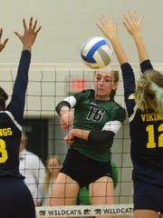 Novi's Ally Cummings (16) sends a point past the arms