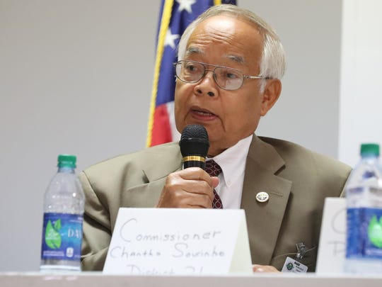 Current Rutherford County Commissioner for District 21 Chantho Sourinho (D), answers questions at a public forum held by the NAACP, to get to know the candidates on Thursday June, 14, 2018, at Allen Chapel, in Murfreesboro.