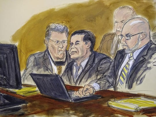 In this courtroom drawing, Joaquin El Chapo Guzman, center, listens to judge's answer to jury's question on Feb. 6, 2019, in New York.