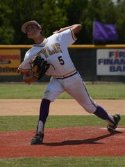 Wylie starting pitcher Dash Albus throws a pitch during Wylie's 3-1 win over Alice American on Tuesday at Kirby Park. The victory secured the Texas West State championship for Wylie.