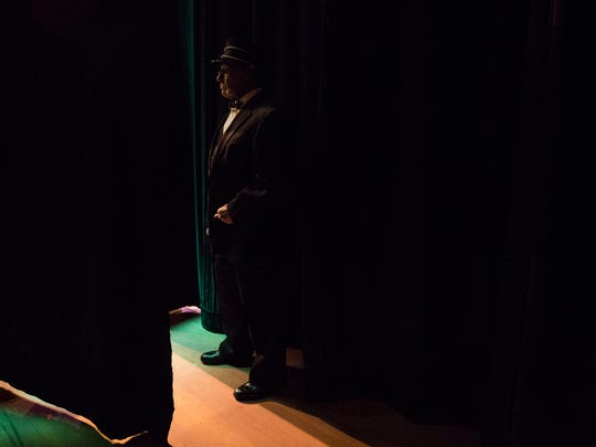 Harry McCartney who plays Constable Locke waits to walk on stage during the Music Man dress rehearsal at Sugden Community Theatre on Thursday, March 1, 2018.
