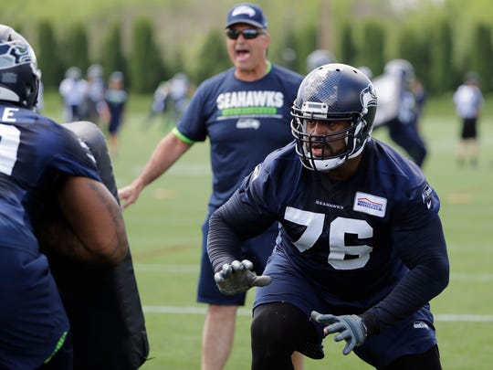 Seahawks offensive tackle Duane Brown is a fan of the blocking style being implemented by new offensive line coach Mike Solari, center.