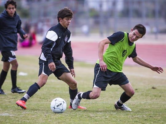 Hamilton High School soccer players, from left, Rafa
