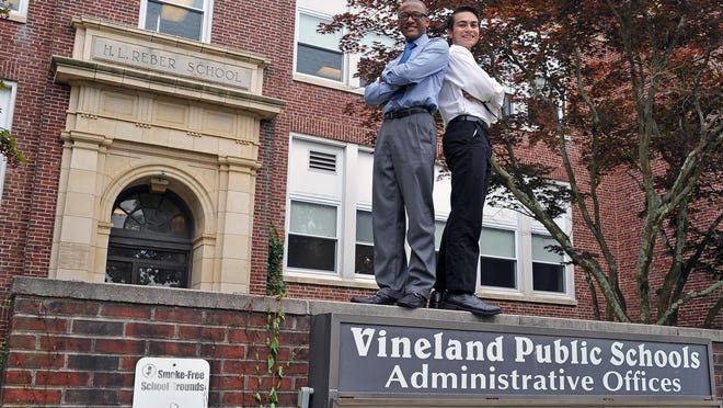 Cedric Holmes (left) and Xavier Cardona, both 18, graduated from Vineland High School last month and are now running for school board seats.