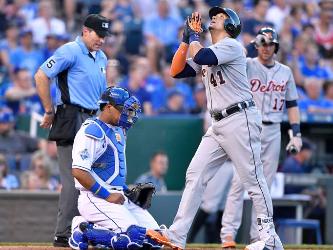 Detroit Tigers designated hitter Victor Martinez celebrates