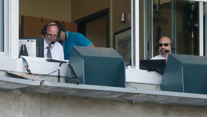Fox Sports Detroit team Mario Impemba, right, and Kirk Gibson call a Detroit Tigers game against the Pittsburgh Pirates on July 2, 2015, in Detroit.